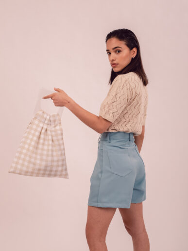 Mini bag – Beige con asas trasparentes