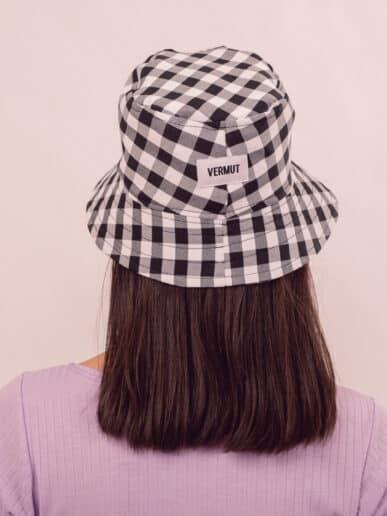 Bucket hat cuadrillé – Negro – Adulto