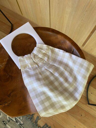 Mini bag – Beige con asas blancas
